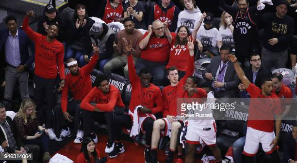 TORONTO ON APRIL 14 The Raptors bench celebrates a three pointer as the Toronto Raptors open the first round of the NBA playoffs aginst the...