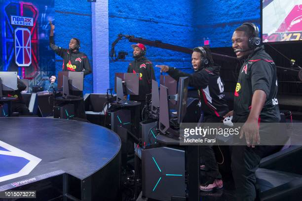 The Raptors Uprising Gaming Club talks trash after the game against Heat Check Gaming during Week 12 of the NBA 2K League on August 11 2018 at the...