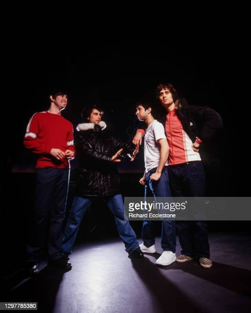 The Rapture, American rock band from New York City, studio group portrait, 2000.