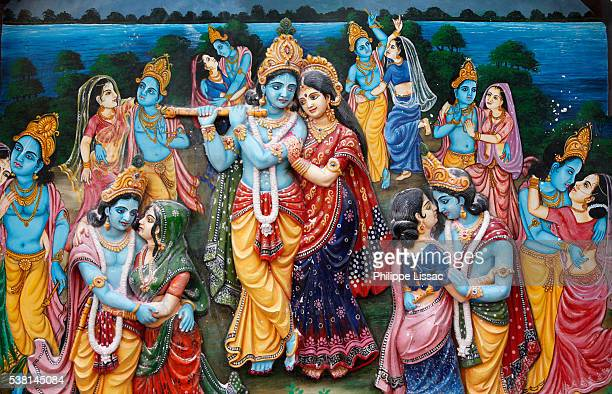 the rasa lila or rasa dance is part of the traditional story of krishna described in hindu scriptures such as the bhagavata. - lord krishna stock pictures, royalty-free photos & images