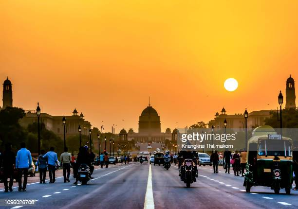 the rashtrapati bhavan during sunset time, india. - india politics stock pictures, royalty-free photos & images