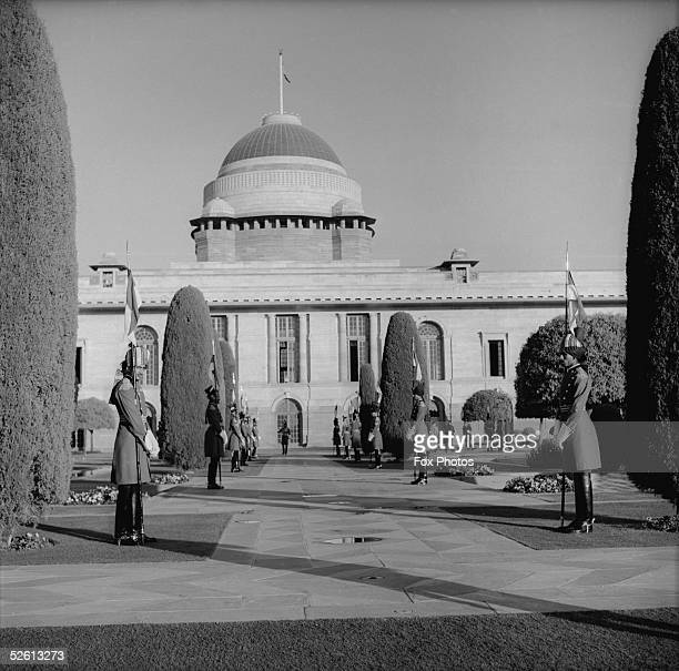 The Rashtrapati Bhavan in New Delhi the official residence of the President of India with the presidential bodyguard in attendance 22nd January 1961...