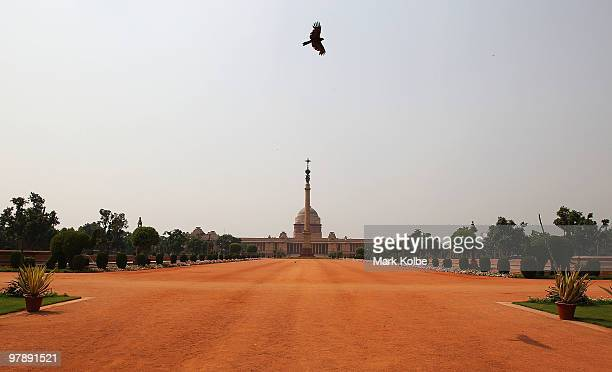 The Rashtrapati Bhavan is seen from the front gates on March 18, 2010 in Delhi, India. Rashtrapati Bhavan is the President of India's official...
