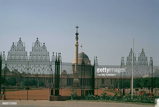 The Rashtrapati Bhavan the presidential palace in New Delhi Delhi India 1972 The Jaipur Column designed by Sir Edwin Lutyens stands in front
