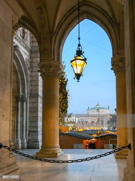the rathausplatz in december, vienna, austria - vsojoy stock pictures, royalty-free photos & images