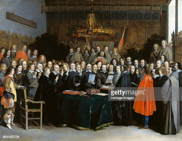 The Ratification of the Treaty of Münster, 1648. Found in the collection of the National Gallery, London.