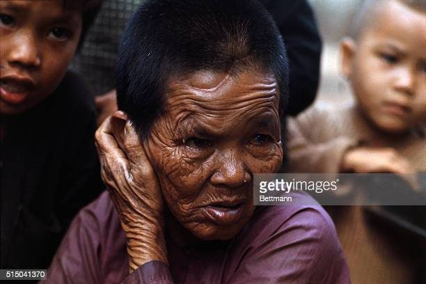 The ravages of war are deeply etched in the face of this old woman an inhabitant of my Lai village near where a reported massacre occurred in March...