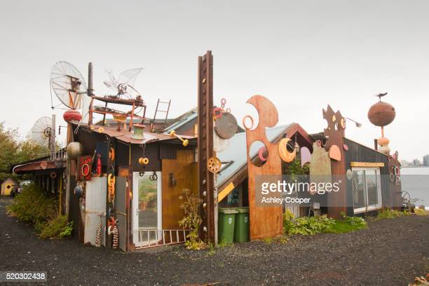 The Ravens house, once home to the pop artist Bjork and now owned by the film director Hrafn Gunnlaugsson in Reykjavik, Iceland. The house is an icon or recycled materials.