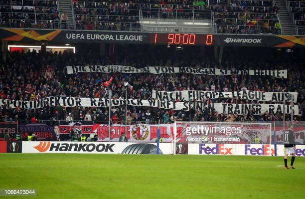 The RB Salzburg fans display a banner during the UEFA Europa League Group B match between RB Salzburg and RB Leipzig at Red Bull Arena on November 29...