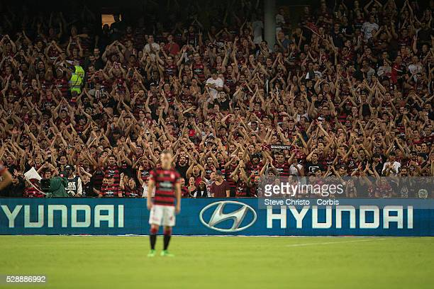 The RBB fans of the Wanderers sing chants before the round 20 ALeague match between Sydney FC and Western Sydney Wanderers at Allianz Stadium in...