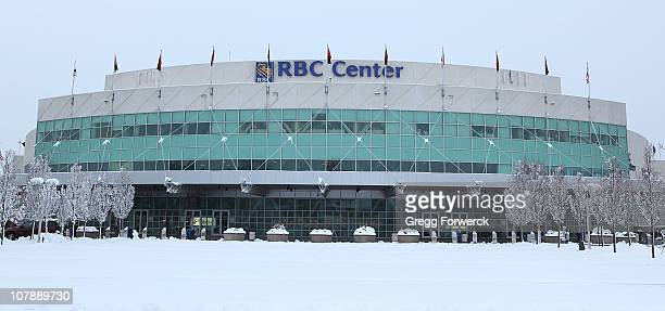 The RBC Center home of the Carolina Hurricanes is hit by a snow storm just priorto a NHL game against the Washington Capitals on December 26 2010 at...