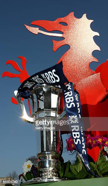The RBS 6 Nations Trophy stands in front a red dragon at Cardiff Castle before the Final Weekend of the RBS 6 Nations Championship March 19 2009 in...