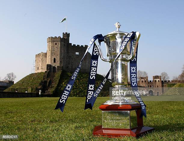 The RBS 6 Nations Trophy stands in front of Cardiff Castle before the Final Weekend of the RBS 6 Nations Championship March 19 2009 in Cardiff Wales