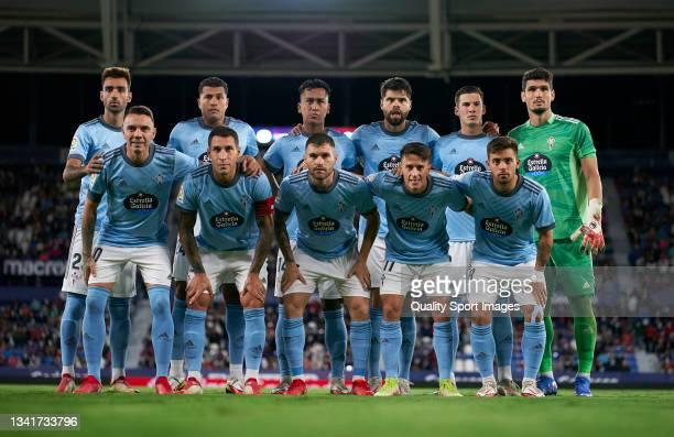 The RC Celta team line up for a photo prior to kick off during the La Liga Santander match between Levante UD and RC Celta de Vigo at Ciutat de...