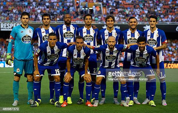 The RC Deportivo de La Coruna pose during the La Liga match between Valencia CF and RC Deportivo de La Coruna at Estadi de Mestalla on August 30 2015...