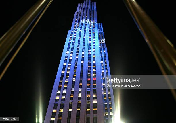 The RCA building also known as the General Electric building headquarters of NBC television in the Rockefeller Center at night