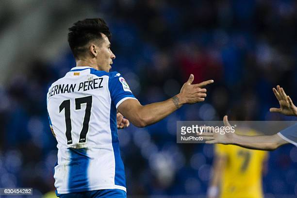 The RCD Espanyol Hernan Perez celebrating his goal during the Spanish Copa del Rey round of 32 second leg match between RCD Espanyol Alcorcon at RCD...