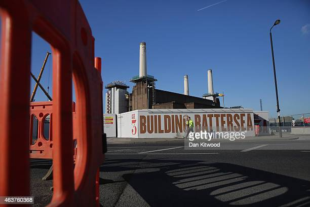 The re development of Battersea Power Station's and it's chimneys continues on February 18 2015 in London England As part of the extensive...