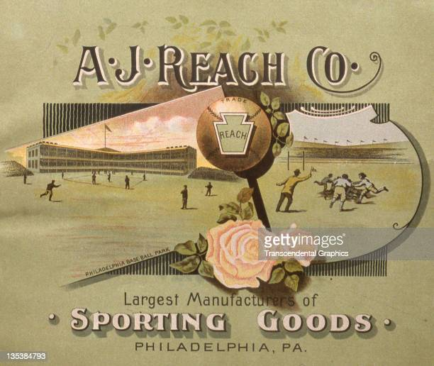 The Reach Sporting Goods Company uses artwork and design to attract an audience to their sporting goods catalog printed c1890 in Philadelphia...
