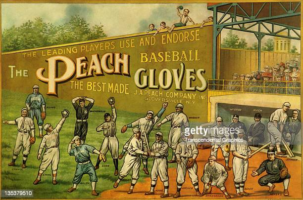 The Reach Sporting Goods Company uses artwork featuring a large number of major league stars to promote its baseball equipment printed circa 1910 in...