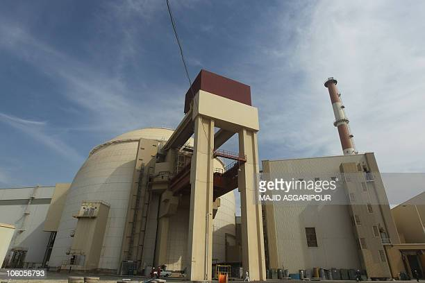 The reactor building at the Russian-built Bushehr nuclear power plant in southern Iran, 1200 Kms south of Tehran, where Iran has began unloading fuel...