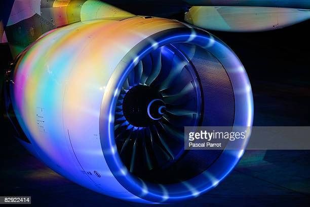 The reactor of the A380 aircraft during the light show prior his takeoff at midnight to Sydney September 19 2008 in Toulouse France Qantas's first...