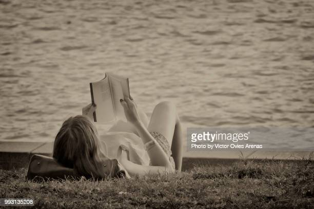 the reader: woman reading a book by the pond in the retiro park in madrid, spai - victor ovies fotografías e imágenes de stock