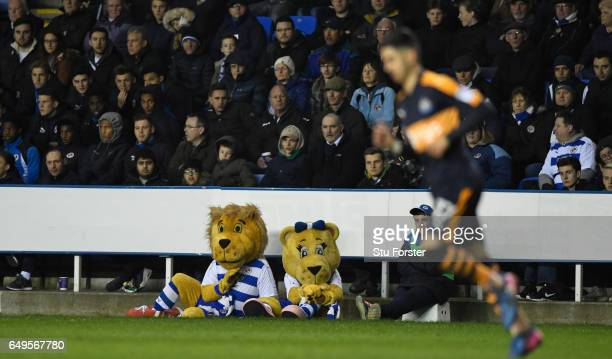The Reading Lion mascots watch the game during the Sky Bet Championship match between Reading and Newcastle United at Madejski Stadium on March 7...