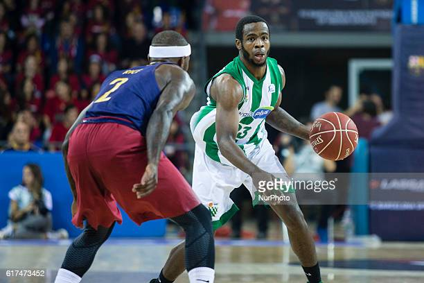 The Real Betis player Kenny Chery from Canada defensed by The FC Barcelona player Tyrese Rice from United States in action during the 2016/2017 Liga...