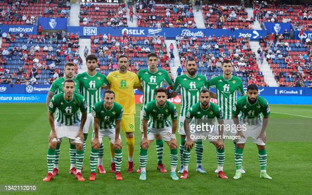 The Real Betis team line up for a photo prior to kick off during the La Liga Santander match between CA Osasuna and Real Betis at Estadio El Sadar on...
