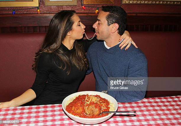 "The Real Housewives of New Jersey"" star Amber Marchese and husband James Marchese visit Buca di Beppo Times Sqaure on February 28, 2015 in New York..."