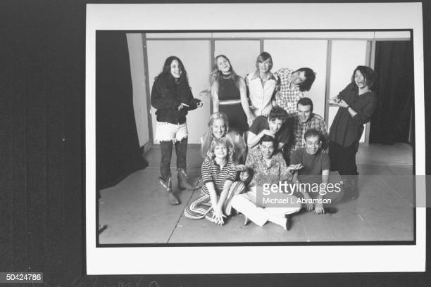 The Real Live Brady Bunch play cast on stage incl producersdirs Jill Soloway sister Faith w Becky Thyre Jane Lynch Pat Towne Melanie Hutsell Mari...