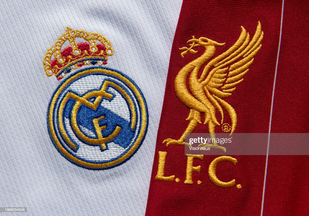 The Real Madrid and Liverpool FC Club Badges : News Photo