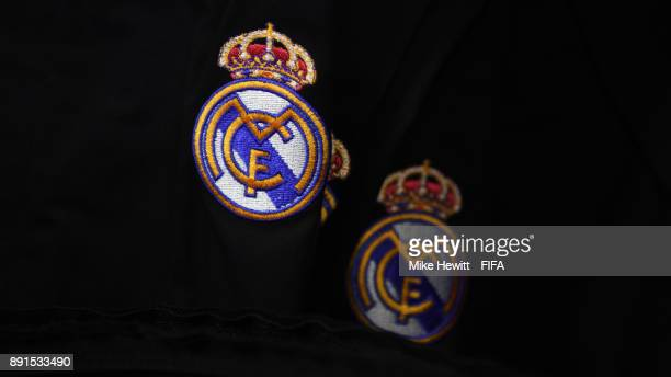 The Real Madrid badge on display in the changing room ahead of the FIFA Club World Cup UAE 2017 Semi Final between Al Jazira and Real Madrid CF at...