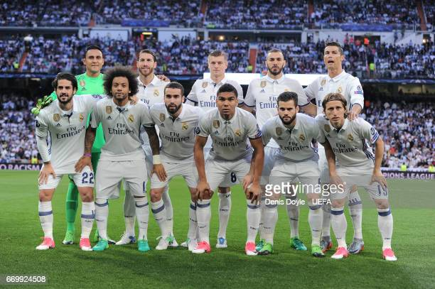 The Real Madrid CF team line-up for the UEFA Champions League Quarter Final second leg match between Real Madrid CF and FC Bayern Muenchen at Estadio...