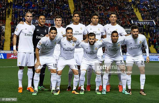 The Real Madrid CF team pose during the La Liga match between Levante UD and Real Madrid at Ciutat de Valencia on March 02 2016 in Valencia Spain