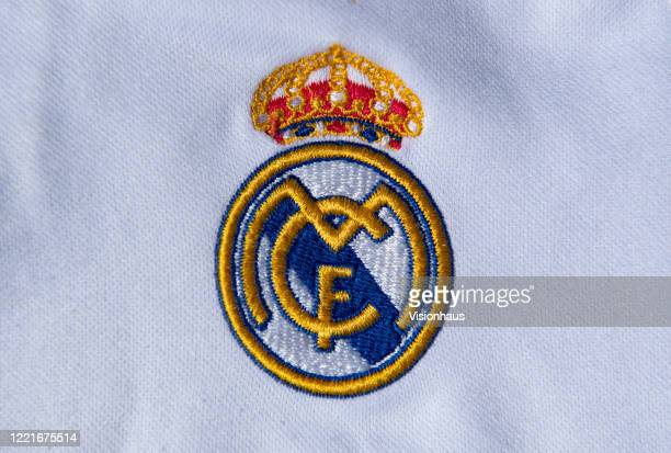 The Real Madrid club crest on a first team home shirt on April 24 2020 in Manchester England