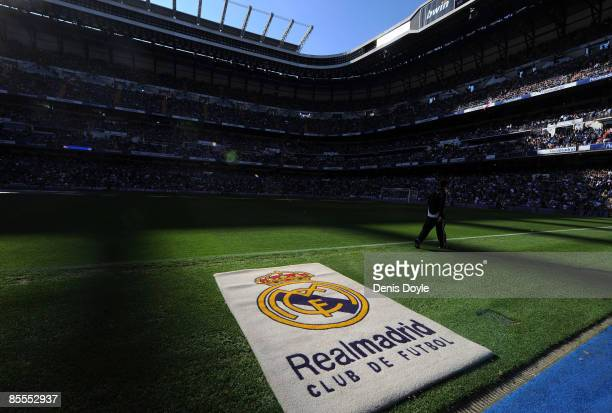 The Real Madrid emblem is seen before the start of the La Liga match between Real Madrid and UD Almeria at the Santiago Bernabeu stadium on March 22,...
