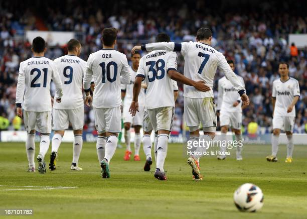 The Real Madrid players celebrate after scoring during the La Liga match between Real Madrid and Real Betis Balompie at Estadio Santiago Bernabeu on...