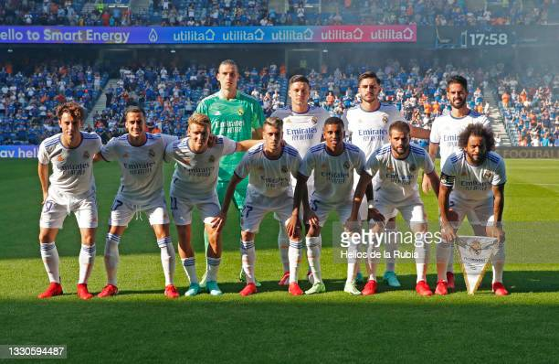 The Real Madrid squad pose ahead of their friendly match between Real Madrid CF and Rangers at Ibrox Stadium on July 25, 2021 in Madrid, Spain.