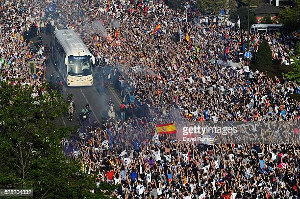 The Real Madrid team bus arrives at the stadium prior to kickoff during the UEFA Champions League semi final second leg match between Real Madrid and...