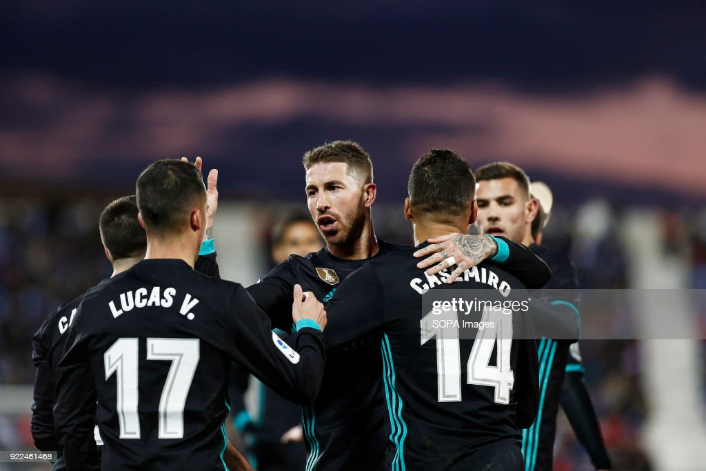BUTARQUE, LEGANES, MADRID, SPAIN - : The Real Madrid team celebrate after Casemiro (Real Madrid) scored during the La Liga Santander match between Leganes vs Real Madrid at the Estadio Butarque. Final Score Leganes 1 Real Madrid 3.