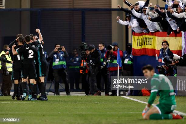 STADIUM LEGANéS MADRID SPAIN The Real Madrid team celebrate after Marco Asensio scored during the match Jan 2018 Leganés CD and Real Madrid CF at...