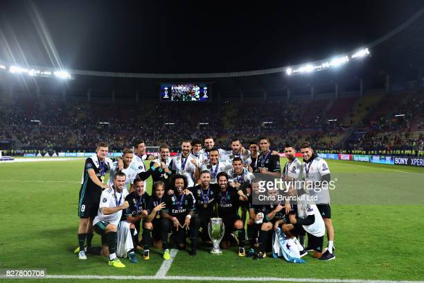 The Real Madrid team celebrate their win after the UEFA Super Cup match between Real Madrid and Manchester United at National Arena Filip II...