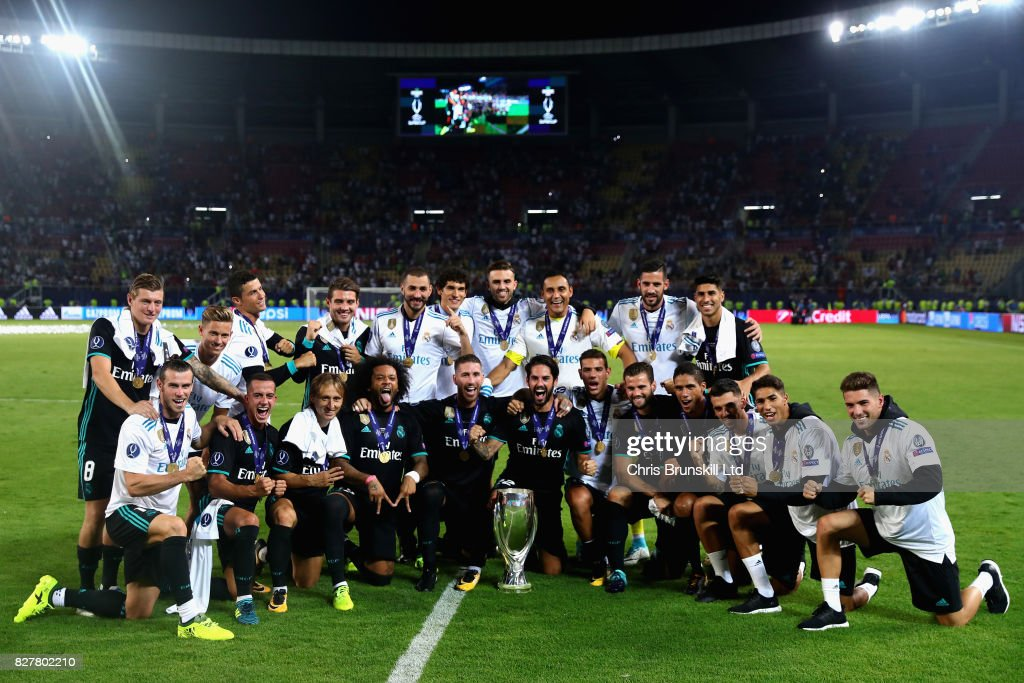 The Real Madrid team celebrate their win after the UEFA Super Cup match between Real Madrid and Manchester United at National Arena Filip II Macedonian on August 8, 2017 in Skopje, Macedonia.