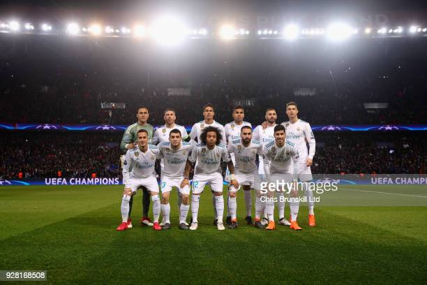 The Real Madrid team line up before the UEFA Champions League Round of 16 Second Leg match between Paris SaintGermain and Real Madrid at Parc des...