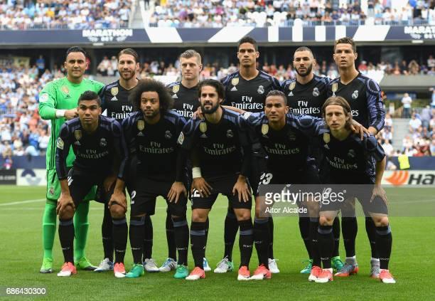 The Real Madrid team line up during the La Liga match between Malaga and Real Madrid at La Rosaleda Stadium on May 21 2017 in Malaga Spain