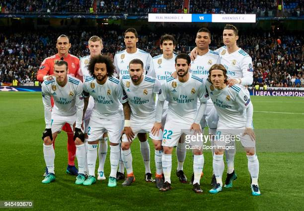The Real Madrid team line up for a photo prior to kick off during the UEFA Champions League Quarter Final Second Leg match between Real Madrid and...