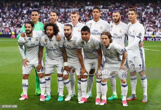 the Real Madrid team line up prior to the UEFA Champions League semi final first leg match between Real Madrid CF and Club Atletico de Madrid at...