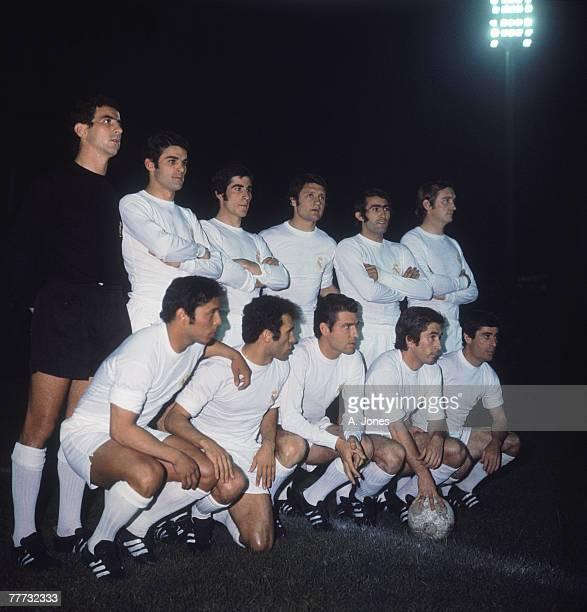 The Real Madrid team pose before their 1970-71 UEFA Cup Winners' Cup Final replay against Chelsea FC at Karaiskakis Stadium, Piraeus, Greece, 21st...